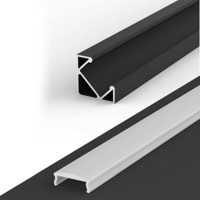 Profil LED Kątowy P3-1 czarny z kloszem mlecznym z soczewką rozpraszającą C4 1m