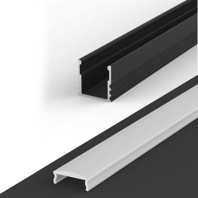 Profil LED Nawierzchniowy P5-1 czarny lakierowany z kloszem mlecznym z soczewką C4 2m