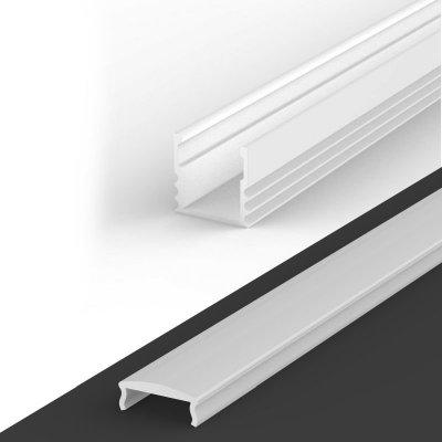 Profil LED Nawierzchniowy P5-1 biały lakierowany z kloszem mlecznym z soczewką C4 2m