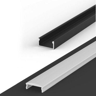 Profil LED Nawierzchniowy P4-1 czarny lakierowany z kloszem mlecznym z soczewką C4 2m