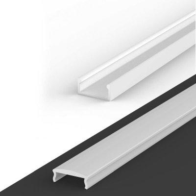 Profil LED Nawierzchniowy P4-1 biały lakierowany z kloszem mlecznym z soczewką C4 2m