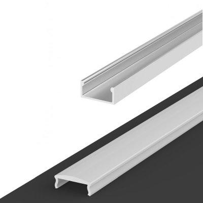 Profil LED Nawierzchniowy P4-1 surowy z kloszem mlecznym z soczewką C4 2m
