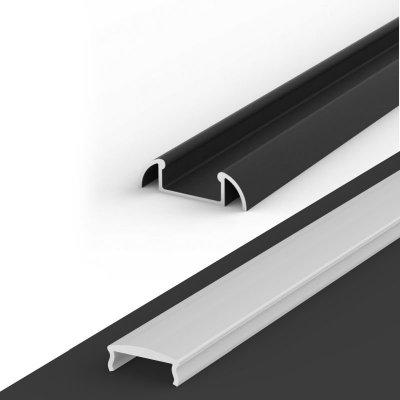Profil LED Nawierzchniowy P2-1 czarny lakierowany z kloszem mlecznym z soczewką C4 2m