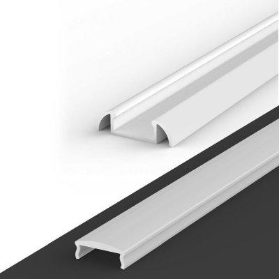 Profil LED Nawierzchniowy P2-1 biały lakierowany z kloszem mlecznym z soczewką C4 2m