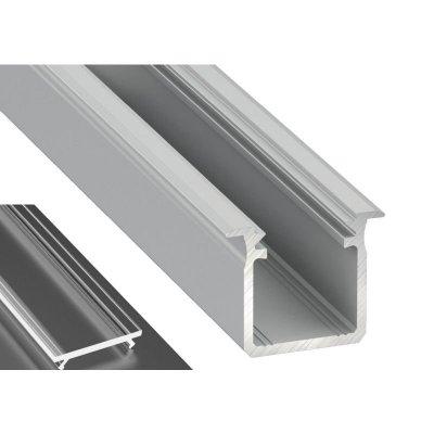 Profil LED Wpuszczany typu G surowy z kloszem transparentnym 2m