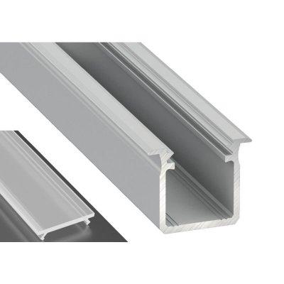 Profil LED Wpuszczany typu G surowy z kloszem mrożonym 2m