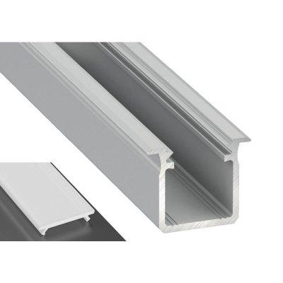 Profil LED Wpuszczany typu G surowy z kloszem mlecznym 2m