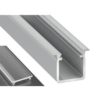 Profil LED Wpuszczany typu G surowy z kloszem frosted 2m