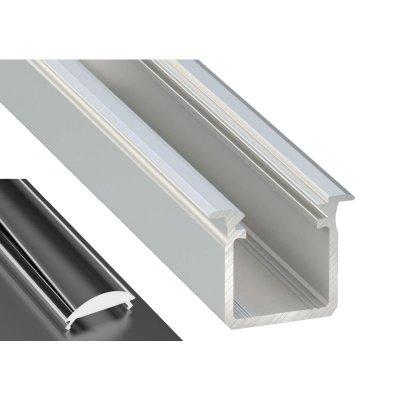 Profil LED Wpuszczany typu G srebrny anodowany z kloszem lens 15 2m