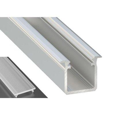 Profil LED Wpuszczany typu G srebrny anodowany z kloszem mlecznym frosted 2m