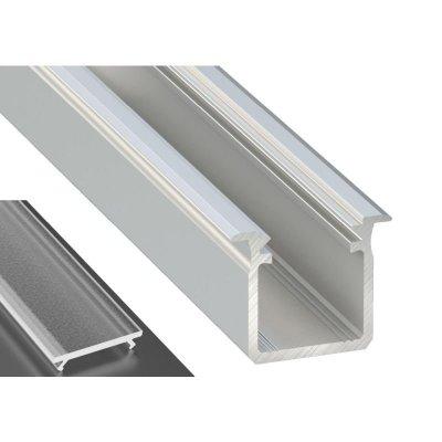 Profil LED Wpuszczany typu G srebrny anodowany z kloszem frosted 2m