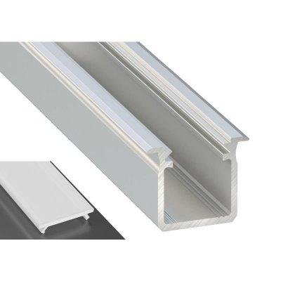 Profil LED Wpuszczany typu G srebrny anodowany z kloszem mlecznym 2m