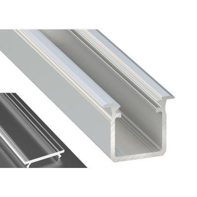Profil LED Wpuszczany typu G srebrny anodowany z kloszem transparentnym 2m
