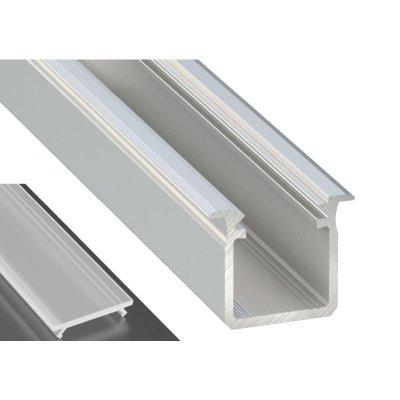 Profil LED Wpuszczany typu G srebrny anodowany z kloszem mrożonym 2m