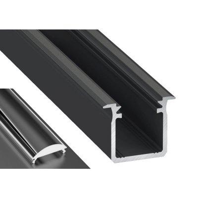 Profil LED Wpuszczany typu G czarny anodowany z kloszem lens 15 2m