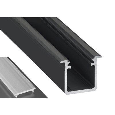 Profil LED Wpuszczany typu G czarny anodowany z kloszem mlecznym frosted 2m