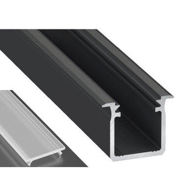 Profil LED Wpuszczany typu G czarny anodowany z kloszem mrożonym 2m