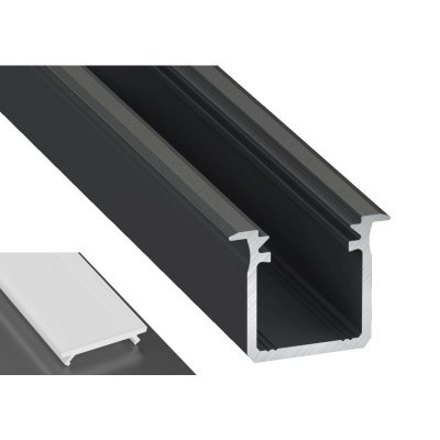 Profil LED Wpuszczany typu G czarny anodowany z kloszem mlecznym 2m