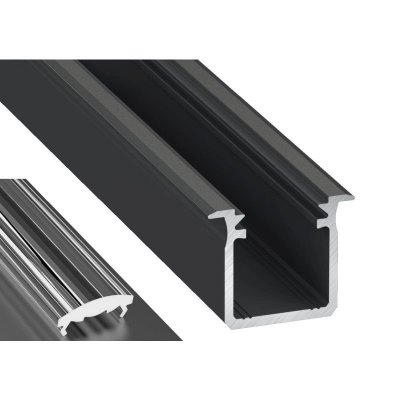 Profil LED Wpuszczany typu G czarny anodowany z kloszem lens 30 2m