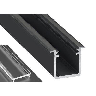 Profil LED Wpuszczany typu G czarny anodowany z kloszem transparentnym 2m