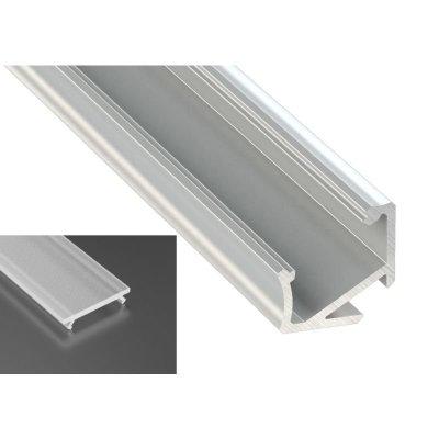 Profil LED Kątowy typu H surowy z kloszem frosted mleczny 2m