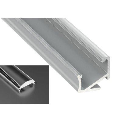 Profil LED Kątowy typu H anodowany z kloszem lens 15 2m