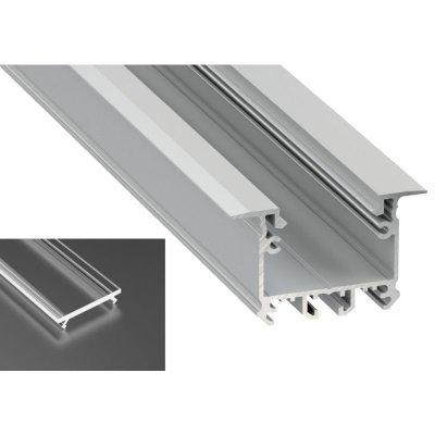 Profil LED architektoniczny wpuszczany inTALIA srebrny anodowany z kloszem transparentnym 2m