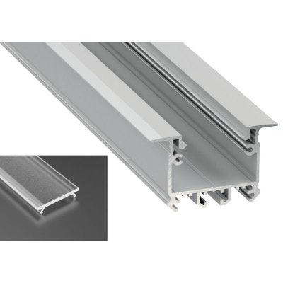 Profil LED architektoniczny wpuszczany inTALIA srebrny anodowany z kloszem frosted 2m