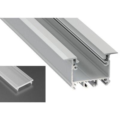 Profil LED architektoniczny wpuszczany inTALIA srebrny anodowany z kloszem frosted mlecznym 2m