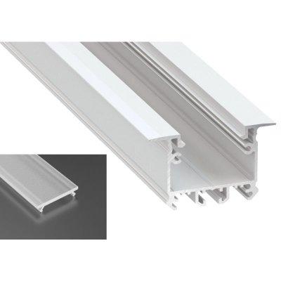 Profil LED architektoniczny wpuszczany inTALIA biały lakierowany z kloszem frosted mlecznym 2m