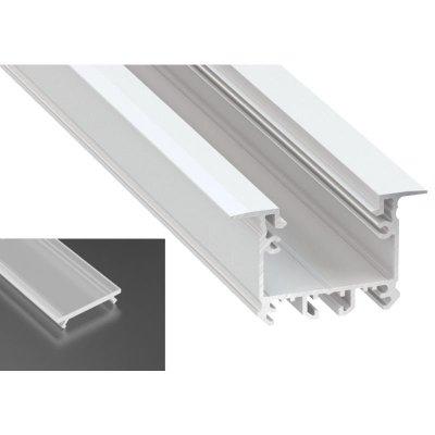 Profil LED architektoniczny wpuszczany inTALIA biały lakierowany z kloszem mrożonym 2m