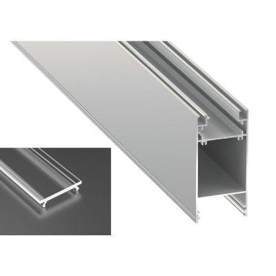 Podwójny Profil LED architektoniczny napowierzchniowy DULIO srebrny anodowany z kloszem transparentnym 2m