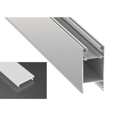 Podwójny Profil LED architektoniczny napowierzchniowy DULIO srebrny anodowany z kloszem mlecznym 2m