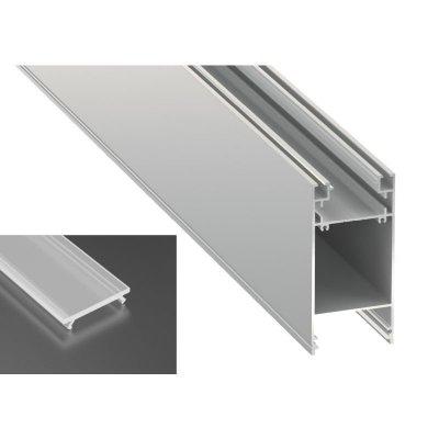 Podwójny Profil LED architektoniczny napowierzchniowy DULIO srebrny anodowany z kloszem mrożonym 2m