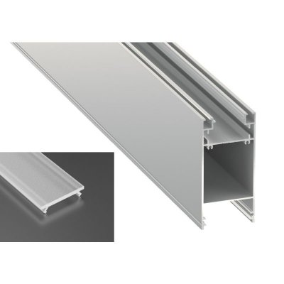 Podwójny Profil LED architektoniczny napowierzchniowy DULIO srebrny anodowany z kloszem frosted mlecznym 2m