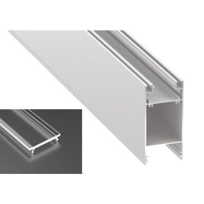 Podwójny Profil LED architektoniczny napowierzchniowy DULIO biały lakierowany z kloszem transparentnym 2m