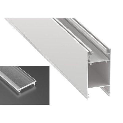 Podwójny Profil LED architektoniczny napowierzchniowy DULIO biały lakierowany z kloszem frosted 2m