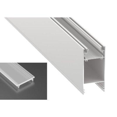 Podwójny Profil LED architektoniczny napowierzchniowy DULIO biały lakierowany z kloszem mrożonym 2m