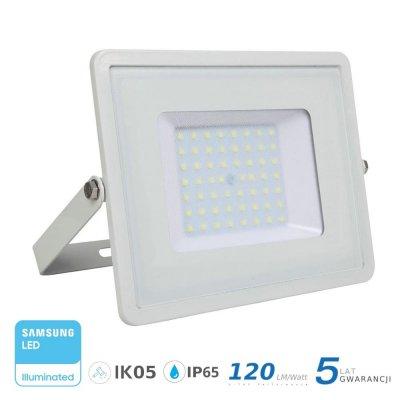 Naświetlacz V-TAC biały 50W 6000lm SAMSUNG CHIP SLIM 6400K IP65 120lm/W