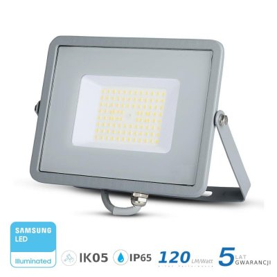 Naświetlacz V-TAC szary 50W 6000lm SAMSUNG CHIP SLIM 6400K IP65 120lm/W