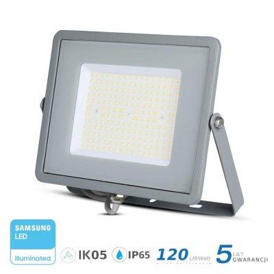 Naświetlacz V-TAC szary 100W 12000lm SAMSUNG CHIP SLIM 6400K IP65 120lm/W