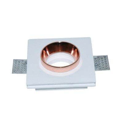 Oprawa kwadratowa GU10 gipsowa wpuszczana biały/złoto 5 lat gwarancji do płyt g-k
