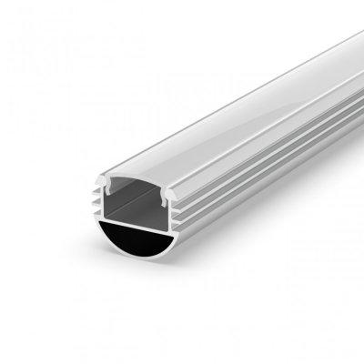 Profil P8-1 do poświetlania szaf LED srebrny anodowany z kloszem mlecznym 2m
