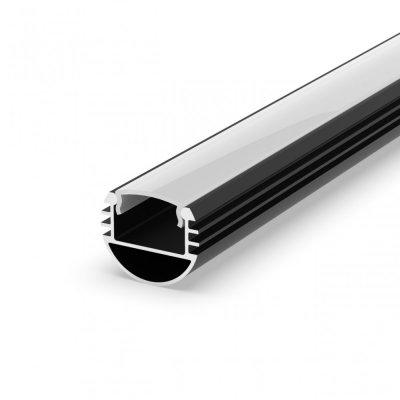 Profil P8-1 do poświetlania szaf LED czarny lakierowany z kloszem mlecznym 2m