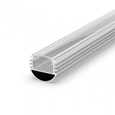 Profil P8-1 do poświetlania szaf LED srebrny anodowany z kloszem transparentnym 2m