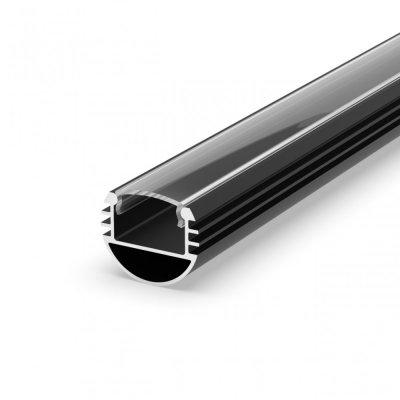 Profil P8-1 do poświetlania szaf LED czarny lakierowany z kloszem transparentnym 2m