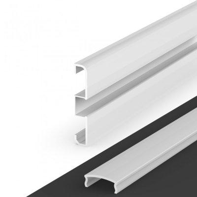 Profil LED Nawierzchniowy cokołowy P15-1 biały lakierowany z kloszem mlecznym 2m