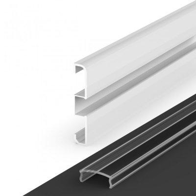 Profil LED Nawierzchniowy cokołowy P15-1 biały lakierowany z kloszem transparentnym 2m