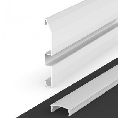 Profil LED Nawierzchniowy cokołowy P16-1 biały lakierowany z kloszem mlecznym 2m