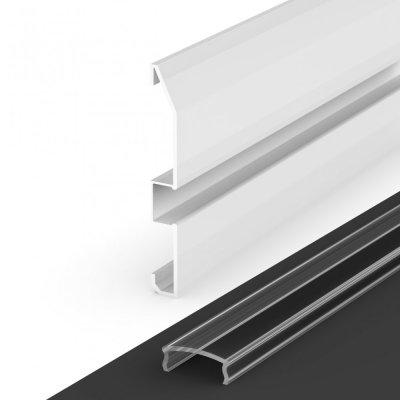 Profil LED Nawierzchniowy cokołowy P16-1 biały lakierowany z kloszem transparentnym 2m